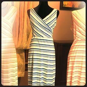 Amelia James Tank- Blue/White Striped Maxi Dress